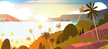 Amazing Sunset On Seaside Horizontal Banner, Tropical Landscape Summer Beach With Palm Tree Exotic Resort Poster. Flat Vector Illustration Stock Photos