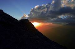 Amazing sunset in Caucasian Mountains. royalty free stock photos