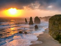 Amazing sunset with sky and clouds over Twelve Apostles, Austral. Ia royalty free stock photography
