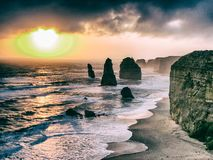 Amazing sunset with sky and clouds over Twelve Apostles, Austral. Ia stock photos