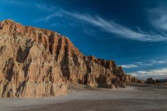 The amazing sunset sky and landscape of Cathedral Gorge State Park in Nevada. USA royalty free stock images