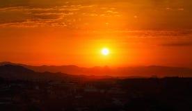 Amazing Sunset Sunrise Over Dark Mountain Silhouette Stock Images