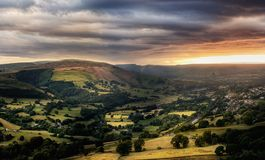 Amazing sunset, Peak District National Park, Derbyshire, England, United Kingdom, Europe. Amazing sunset, sunshine, sun pots after storm. Peak District National royalty free stock photography