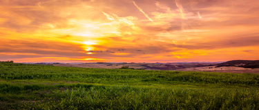 Amazing sunset in Tuscany Stock Images