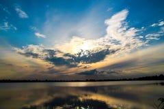 Amazing Sunset in Ukraine. Suntet on Lake near Lviv, Ukraine stock photo
