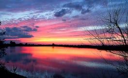 Amazing Sunset in Ukraine. Suntet on Lake near Lviv, Ukraine Royalty Free Stock Photography