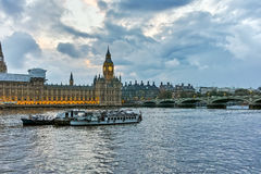 Amazing Sunset view of Houses of Parliament, Palace of Westminster,  London, England Royalty Free Stock Photo
