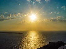 Amazing sunset view in Oia village at Santorini Royalty Free Stock Image