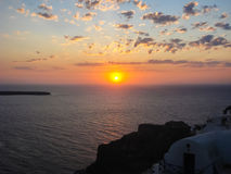 Amazing sunset view in Oia village at Santorini Royalty Free Stock Photo
