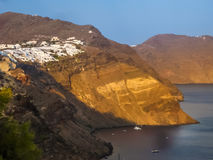 Amazing sunset view in Oia village at Santorini Royalty Free Stock Images