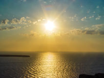 Amazing sunset view in Oia village at Santorini Royalty Free Stock Photography