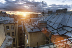 Amazing sunset view from the rooftops old center of St. Petersburg, Russia. Nature. Stock Photos