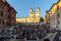 Amazing Sunset view of Spanish Steps and Piazza di Spagna in city of Rome, Italy Royalty Free Stock Photography