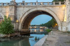 Amazing Sunset view of Tiber River in city of Rome, Italy. ROME, ITALY - JUNE 22, 2017: Amazing Sunset view of Tiber River in city of Rome, Italy royalty free stock image