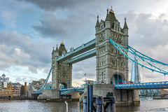 Amazing Sunset view of Tower Bridge in London in the late afternoon, England Stock Photos