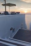 Amazing Sunset view in town of imerovigli, Santorini island, Thira, Greece Stock Image
