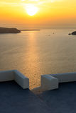 Amazing sunset view from town of Imerovigli to Aegean sea, Santorini island, Thira, Greece Stock Image