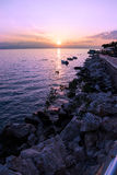 Amazing sunset wallpaper. Amazing sunset in Greece with soft color tones royalty free stock image