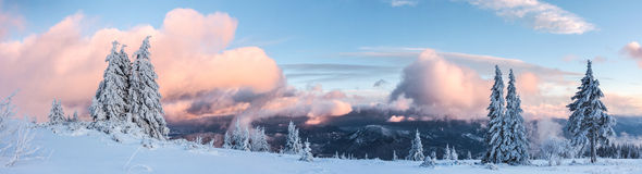 Amazing sunset in winter mountains Stock Images