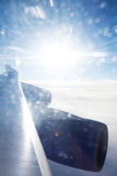 Amazing sunshine over clouds. view from airplane Royalty Free Stock Photos