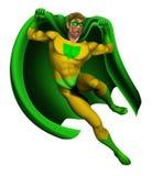 Amazing Superhero Illustration. Illustration of an amazing superhero dressed in yellow and green costume with cape landing Stock Image