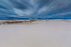 The Amazing Surreal White Sands of New Mexico and Mountains. Royalty Free Stock Photography