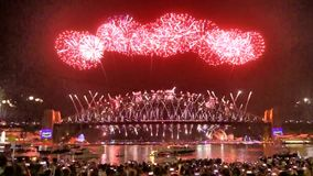Amazing Sydney New Years Countdown and Fireworks stock video footage