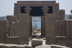 The amazing Temple of Isis from Philae island in Lake Nasser, Aswan, Egypt Royalty Free Stock Photos