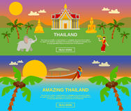 Amazing Thailand Banners Set. Amazing Thailand traveling horizontal banners set with mountains and sea flat isolated vector illustration Stock Photography