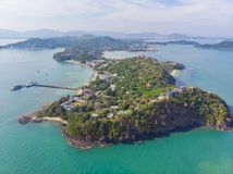 Thailand cape Panwa aerial view from drone camera royalty free stock photo
