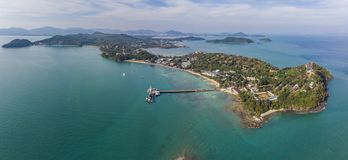 Thailand cape Panwa aerial view from drone camera stock images