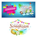 Amazing Thailand Songkran festival banner collections. Background, vector illustration Stock Image