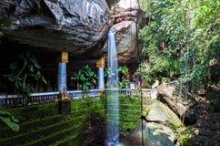 Amazing Thailand the temple under waterfall Wat Tham Heo Sin Chai Stock Photo