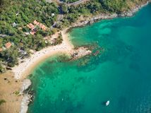 Amazing Thailand Yanui Beach aerial view from drone camera stock image