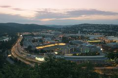 Amazing top view on Brno city, Czech republic at summer evening. Area around exhibition center, road, buildings, hotels, velodrome. Evening view on Brno city royalty free stock photo