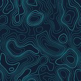 Amazing topography. Actual topography map. Futuristic seamless design, gorgeous tileable isolines pattern. Vector illustration stock images