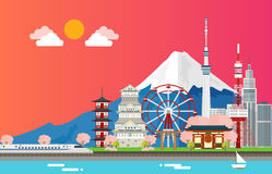 Amazing tourist attrations for traveling in Tokyo Japan illustra Royalty Free Stock Photo