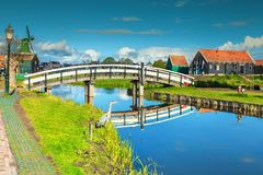 Amazing touristic village Zaanse Schans near Amsterdam, Netherlands, Europe. The best famous touristic village Zaanse Schans with colorful houses and old stock image