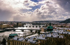 Amazing towers of Charles bridge and old town district with several bridges at Vltava river. Prague, Czech republic Stock Image