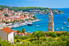 Amazing town of Hvar harbor aerial view Royalty Free Stock Photo