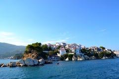 Skiathos. Amazing town Skiathos in Greece royalty free stock images
