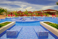 Amazing, tremendous view of Pullman hotel inviting cozy stylish swimming pool and grounds. Cayo Coco island, Pullman hotel, Cuba, June 28, 2016, gorgeous amazing Stock Images