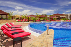 Amazing, tremendous view of Pullman hotel inviting cozy stylish swimming pool and grounds. Cayo Coco island, Pullman hotel, Cuba, June 28, 2016, gorgeous amazing Stock Photography