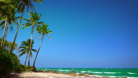 Amazing tropical beach landscape with palm tree, white sand and turquoise ocean waves. Myanmar (Burma) stock footage