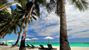 Amazing tropical beach landscape with palm trees. Boracay island, Philippines. Amazing tropical beach landscape with palm trees, umbrellas and chairs for stock video