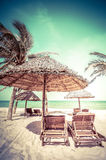 Amazing tropical beach with palm trees, chairs and umbrella. On sand. Travel nature landscape in vintage style. Vietnam Royalty Free Stock Images