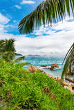Amazing tropical beach. Photo of a tropical beach. The Seychelles Royalty Free Stock Photography