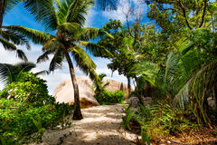 Amazing tropical beach. Photo of a tropical beach. The Seychelles Stock Photo