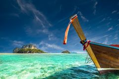 Amazing Tropical Landscape With Thai Traditional Boat. Thailand Royalty Free Stock Photography