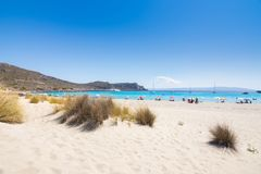 Amazing tropical sandy beach of Simos on Elafonissos island, Peloponnese. Amazing tropical sandy beach of Simos on Elafonissos island, Peloponnese, Greece stock photography